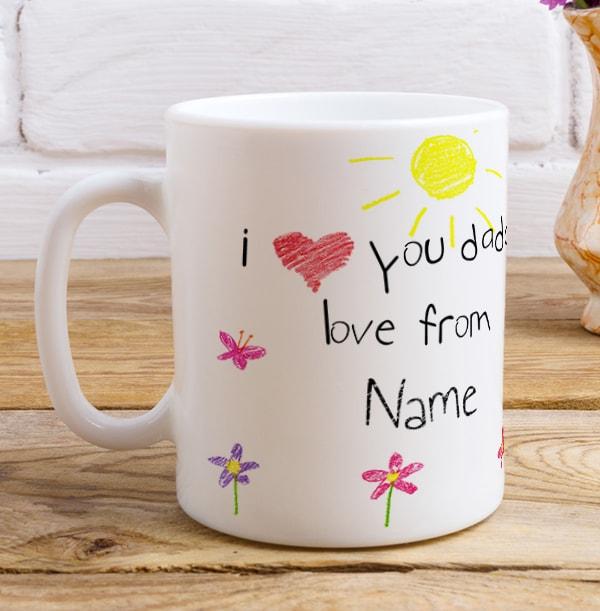 Personalised I Love You Daddy Photo Flower Mug