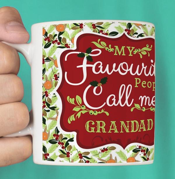 Grandad Personalised Photo Christmas Mug