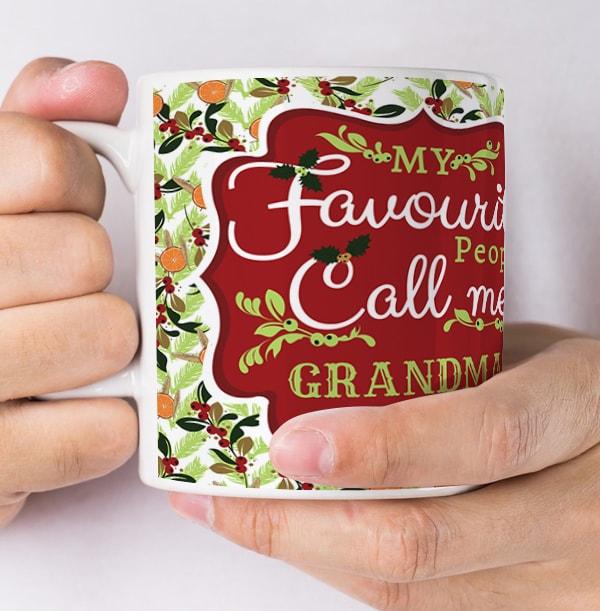 Grandma Personalised Photo Christmas Mug
