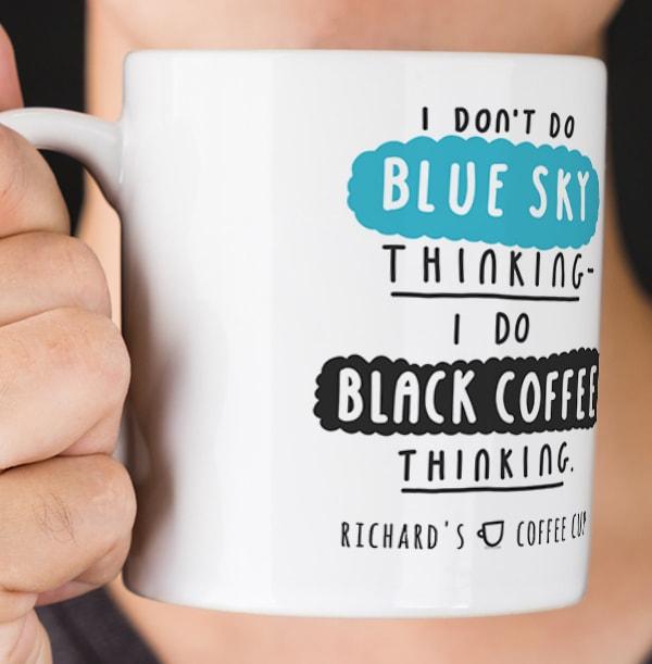 Black Coffee Thinking Personalised Mug