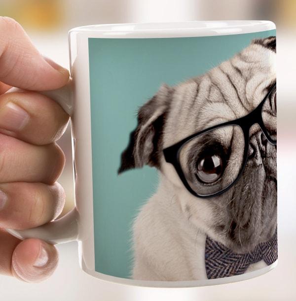 Hipster Pug Personalised Mug