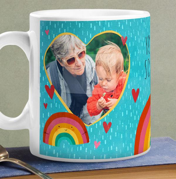Rainbow Hugs Photo Personalised Mug