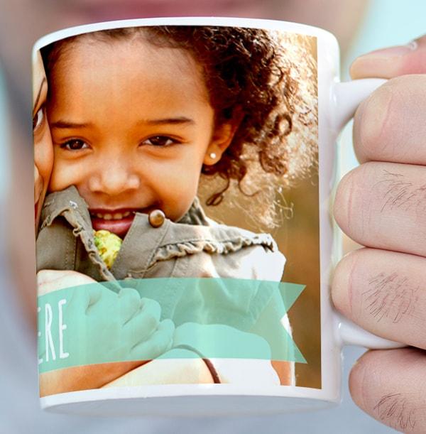 Personalised Photo Mug - Turquoise Banner