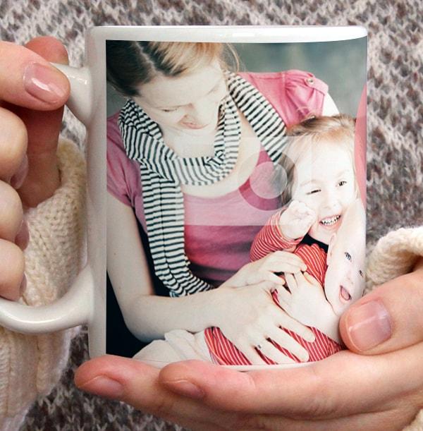 Pink Heart Personalised Photo Mug