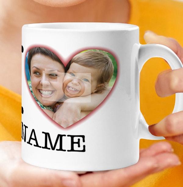 Personalised Photo Upload I Love Mug - White