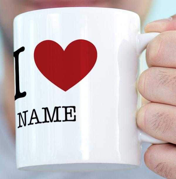 Personalised I Love Mug - White