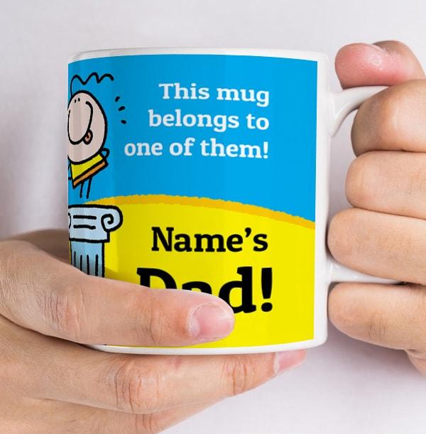 Dad On Pedestal Personalised Lemon Squeezy Mug