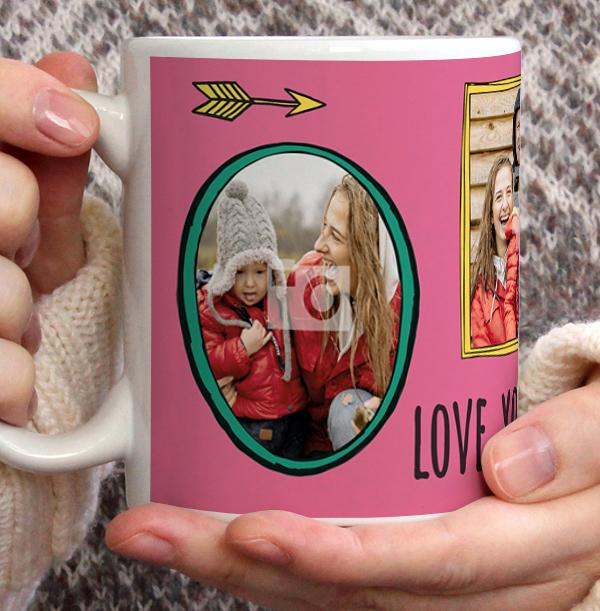 Love You Mummy 3 Photo Personalised Mug