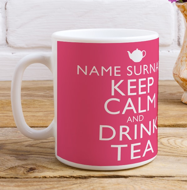 Keep Calm Drink Tea Pink Mug
