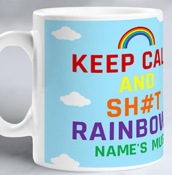 Keep Calm Rainbows Personalised Mug