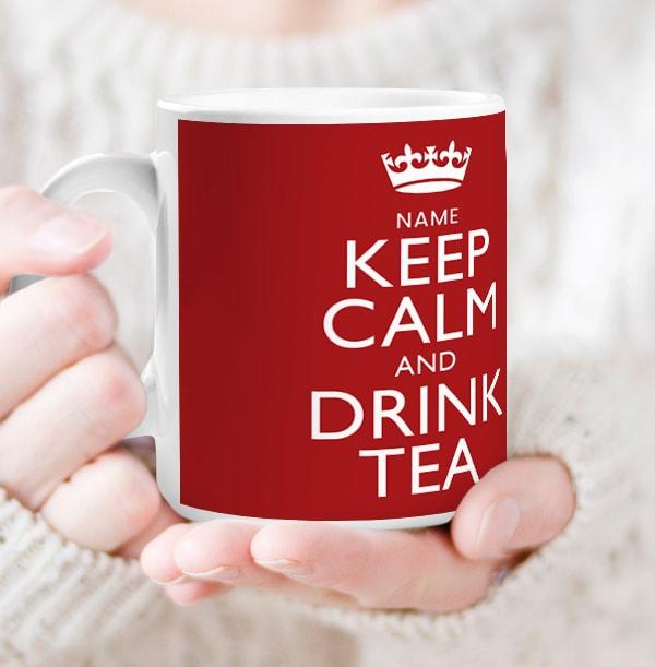 Keep Calm & Drink Tea Personalised Mug