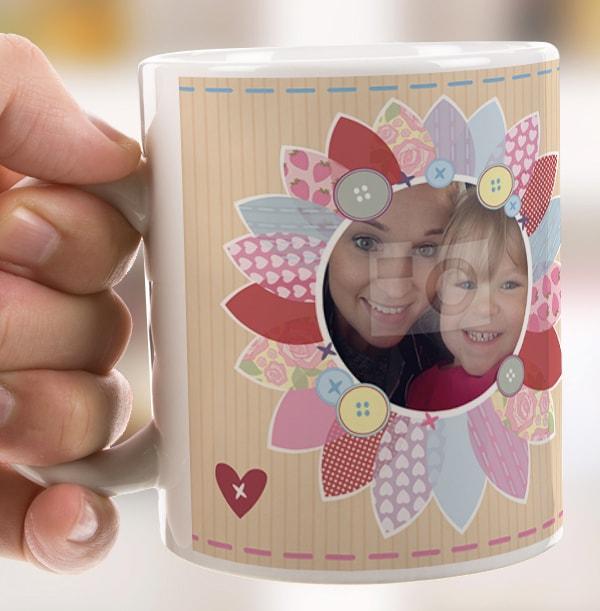 Fabric Flower Personalised Photo Mug