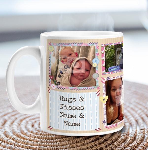 Hugs & Kisses Personalised Photo Mug
