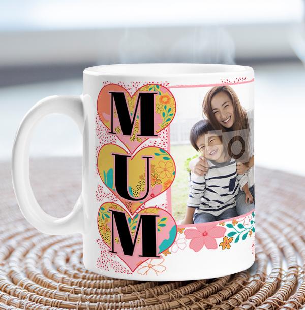 Mum Floral Double Photo Mug