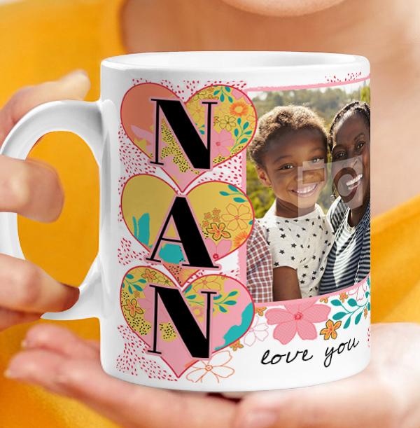 Nan Floral Double Photo Mug