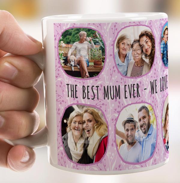 Best Mum Ever Multi Photo Personalised Mug