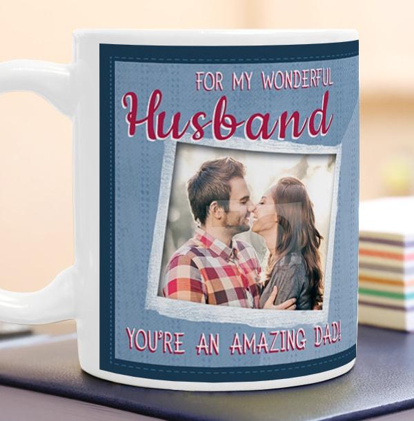 Wonderful Husband Amazing Dad Personalised Mug