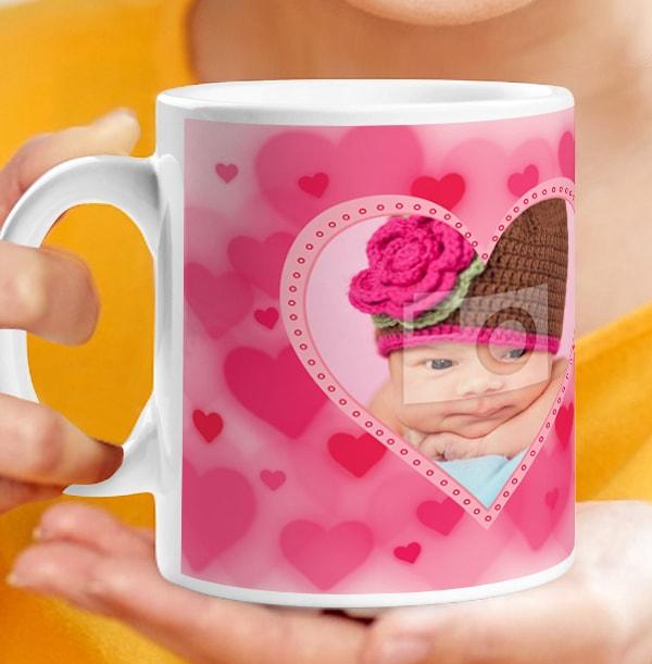 Personalised Mug - Pink Hearts Photo Upload