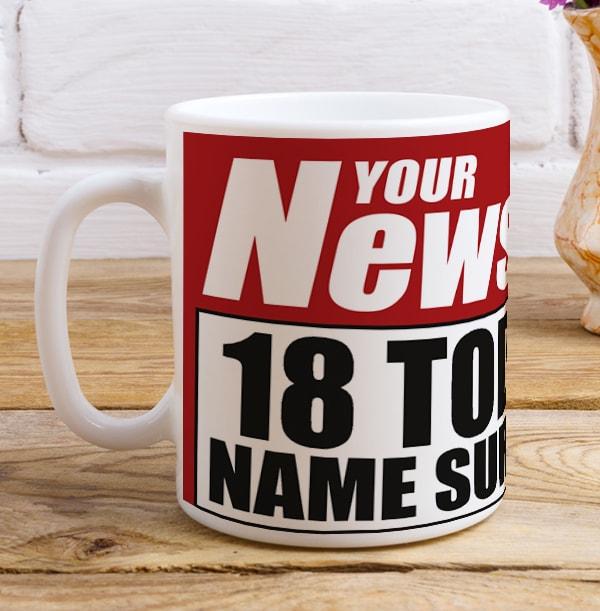 18 Today Newspaper Spoof Mug for Him