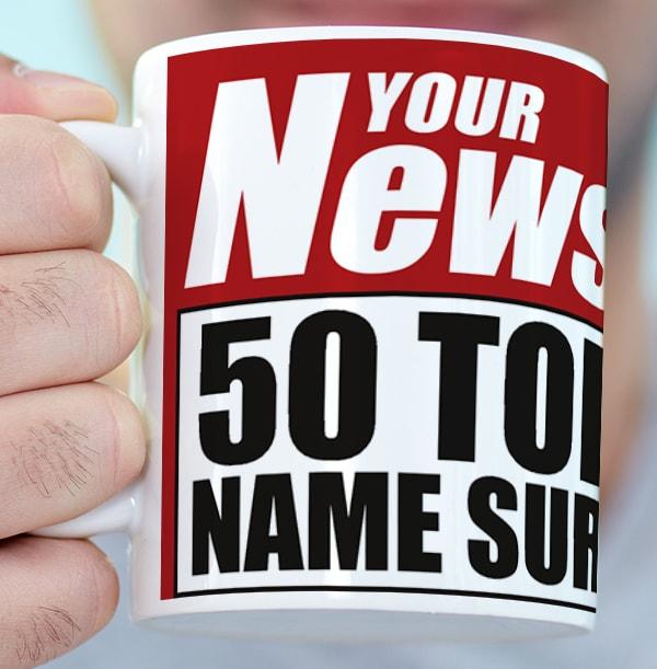 50th Birthday Newspaper Spoof Mug