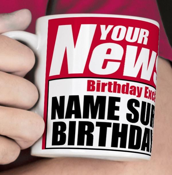 Birthday Boy Newspaper Spoof Mug