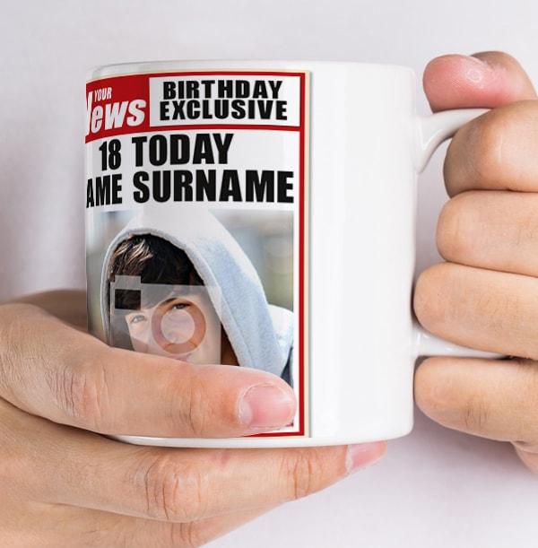 18th Birthday - Newspaper Spoof Personalised Mug