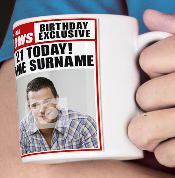 21st Birthday - Newspaper Spoof Mug for Him