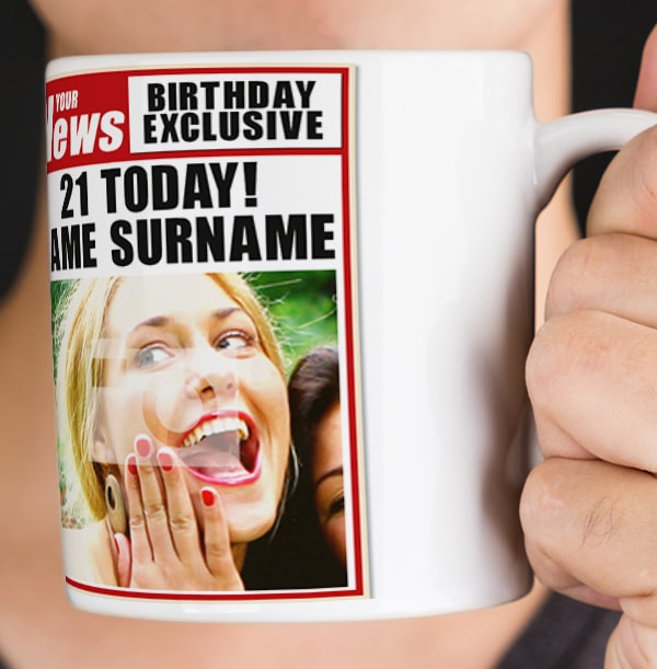 21st Birthday - Newspaper Spoof Mug for Her
