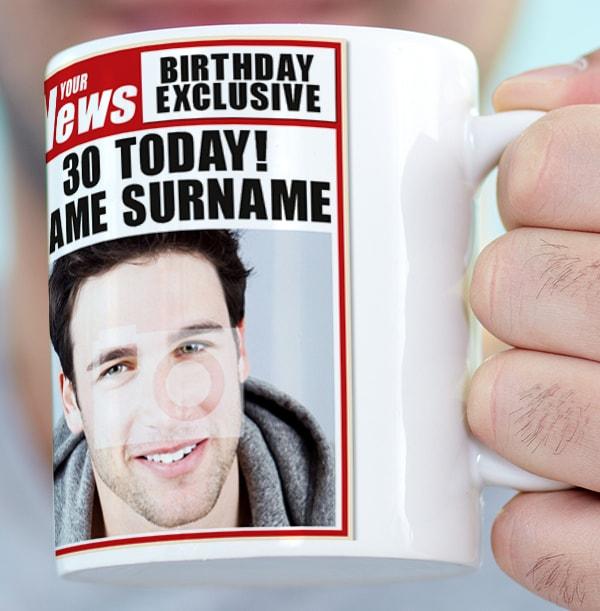 30th Birthday - Newspaper Spoof Mug for Him