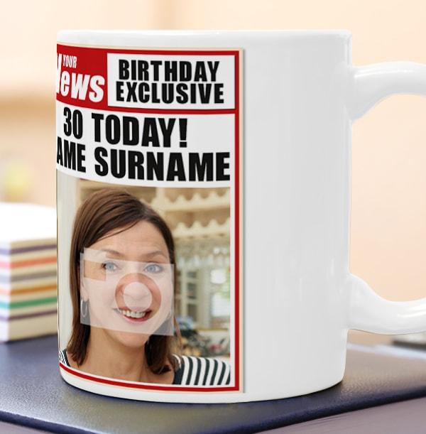 30th Birthday - Newspaper Spoof Mug for Her