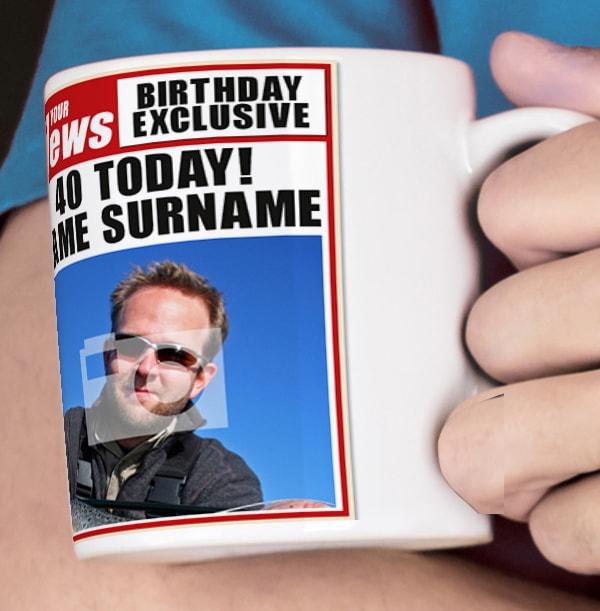 40th Birthday - Newspaper Spoof Mug for Him