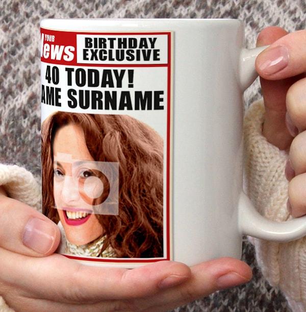 40th Birthday - Newspaper Spoof Mug for Her