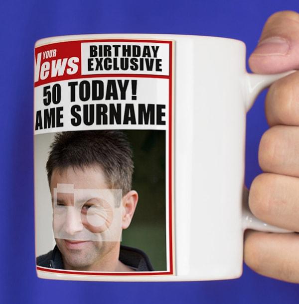 50th Birthday - Newspaper Spoof Mug for Him