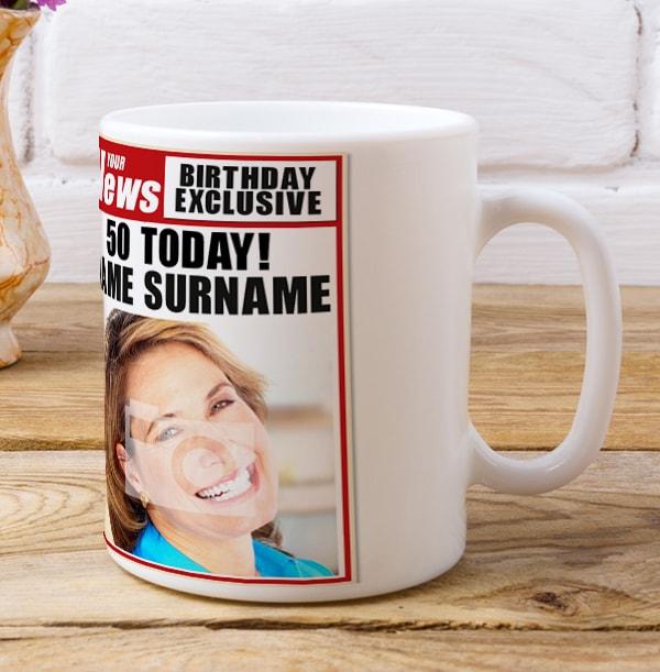 50th Birthday - Newspaper Spoof Mug for Her