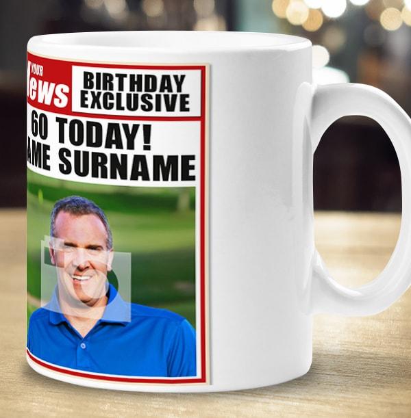 60th Birthday - Newspaper Spoof Mug for Him