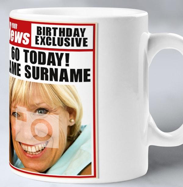 60th Birthday - Newspaper Spoof Mug for Her