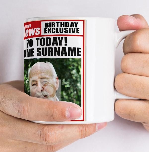 70th Birthday - Newspaper Spoof Mug for Him