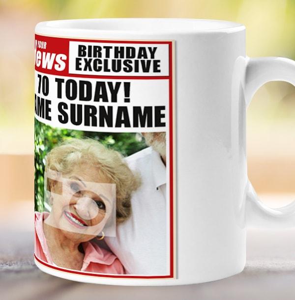 70th Birthday - Newspaper Spoof Mug for Her