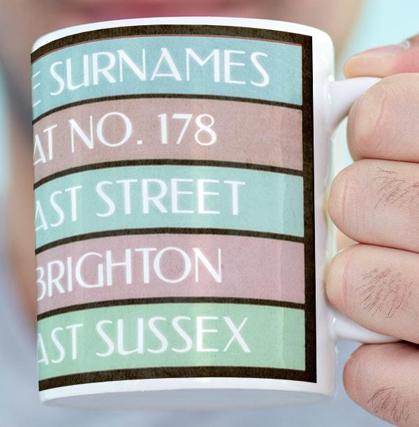 Where We Live Address Personalised Mug