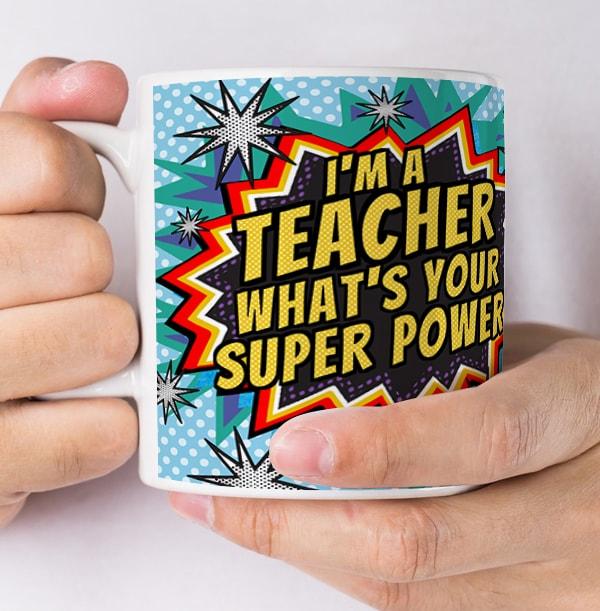 Teacher Super Powers Personalised Mug