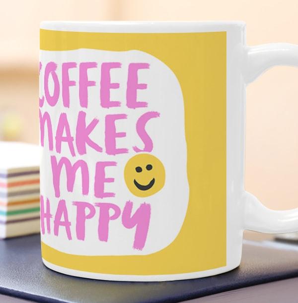 Coffee Makes Me Happy Personalised Mug