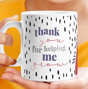 Helping me Grow Thank You Teacher Personalised Mug