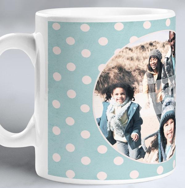 Blue Polka Dot Personalised Mug
