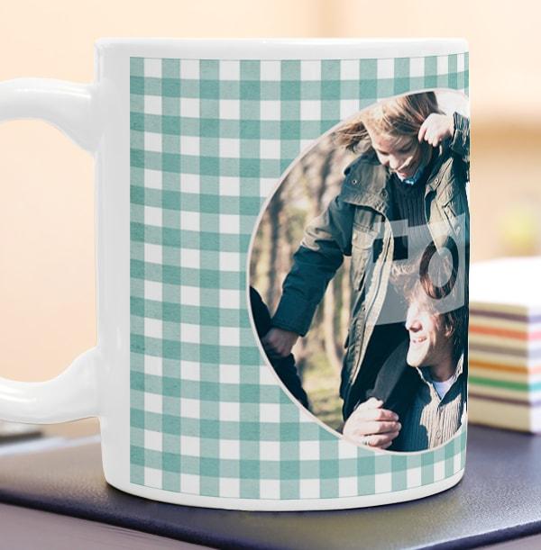 Green Gingham Personalised Mug