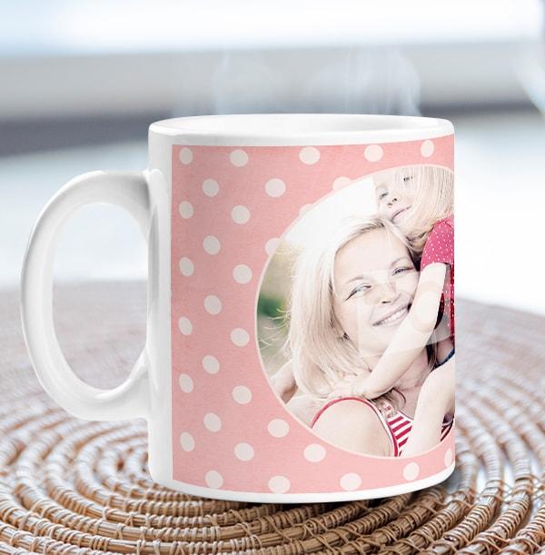Rose Pink Polka Dot Personalised Mug