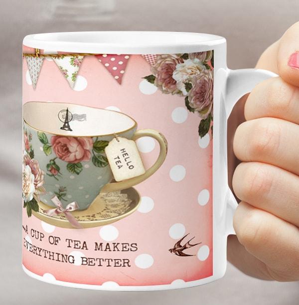 Personalised Mug - Peony Teacup Bunting