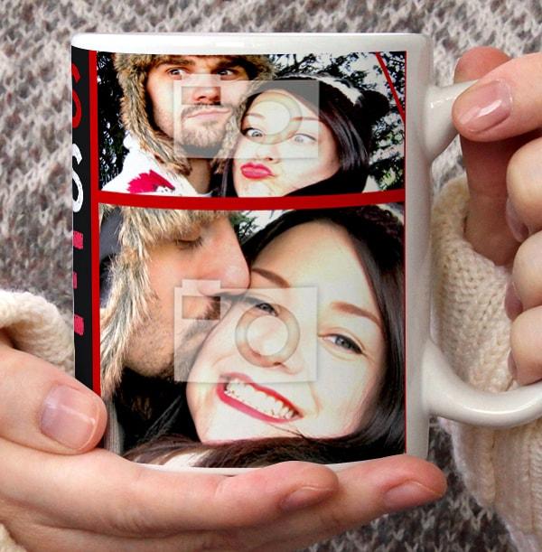 Christmas Kisses Photo Collage Mug