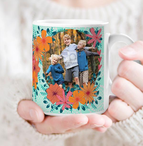 Floral Nanny Photo Personalised Mug