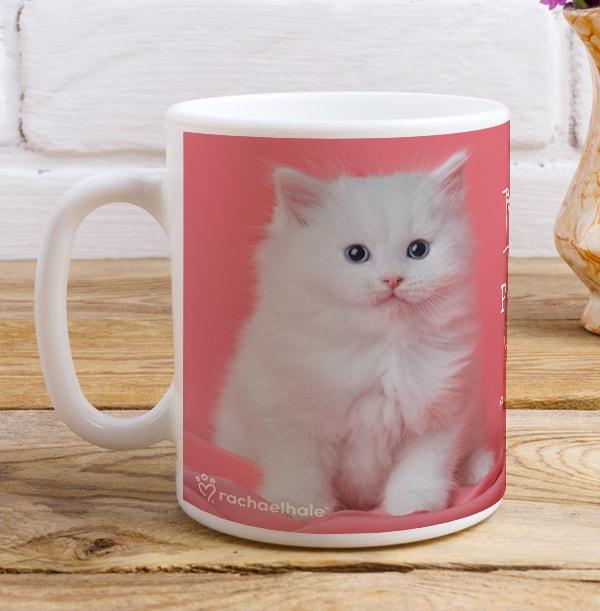 Powered by Cat-Feine White Kitten personalised Mug