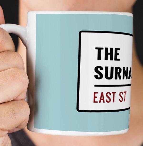 Duck Egg Street Sign Personalised Mug